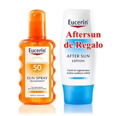 Eucerin Solar Spray Transparente SPF50+ 200 ml (Regalo de Aftersun de 150 ml)