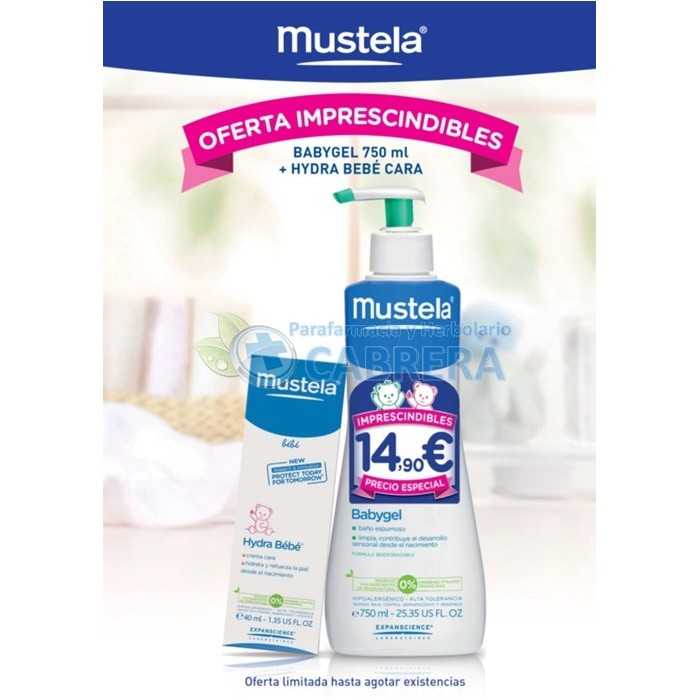 Mustela Pack Babygel 750 ml + Hydrabebé Facial 40 ml