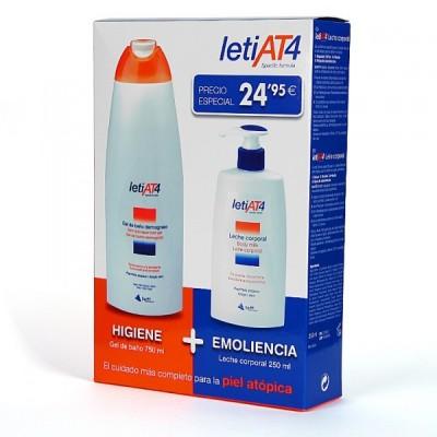 Pack Leti AT4 Gel limpiador + Leche hidratante