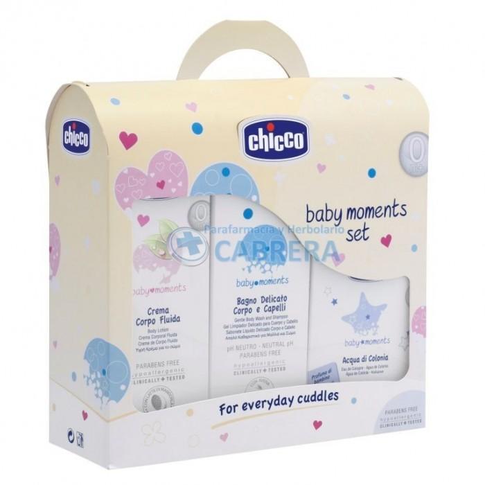 Chicco Baby Moments Set de Inicio (Champú sin lágrimas, crema fluida hidratante corporal, agua de colonia)