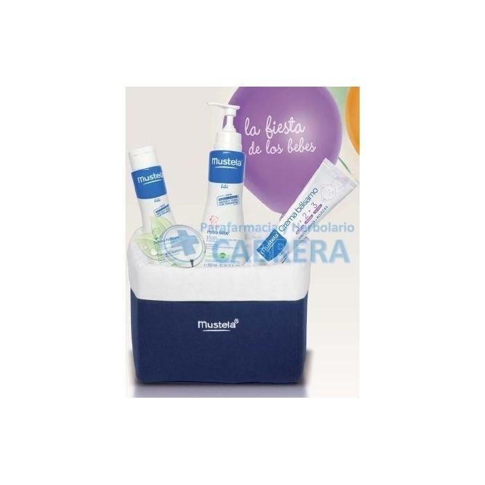 Mustela Pack Fiesta Bebés (Hydrabebé leche corporal, Crema bálsamo 1-2-3, Gel dermolimpiador)